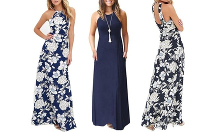 Bloom Print Summer Maxi Dress