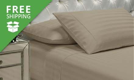 Free Shipping: 1200tc Cotton Four Piece Stripe Sheet Set: Queen Size ($59) or King Size ($69) (Dont Pay Up to $249.95)