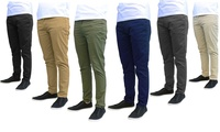 Galaxy by Harvic Mens Slim Fit Cotton Stretch Chinos (Olive)