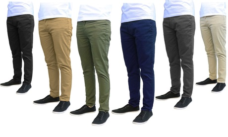 Galaxy by Harvic Men's Slim Fit Cotton Stretch Chinos