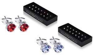 (Bijou)  7 paires BO YV rondes ornées cristaux Swarovski® -90% réduction