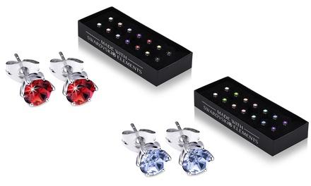Coffret de 7 paires de boucles d'oreilles rondes de la marque OMG Jevel, ornées de cristaux Swarovski®