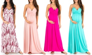 Women's Maternity Cami-Strap Ruched Maxi Dress