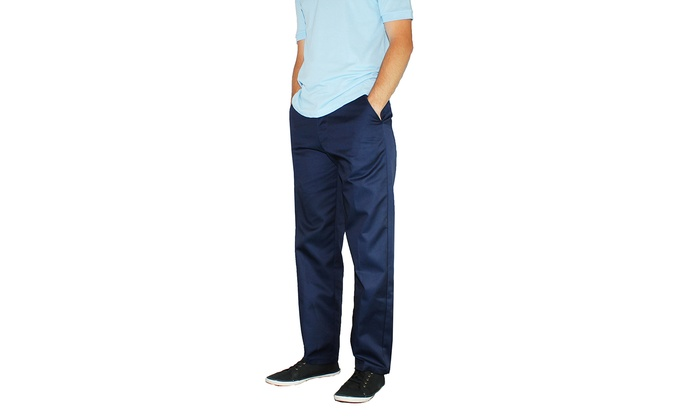 Men's Regular School Uniform Flat Front Twill Pants (Size 32x32 ...