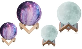 Moon, Galaxy, or Earth Color-Changing 3D Lamp with Remote Control
