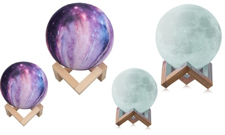 Moon, Galaxy, or Earth Color-Changing 3D Lamp with Touch Sensor and Remote Control