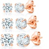 Stud Earrings in 14K Solid Rose Gold Made with Swarovski Elements