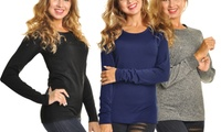 3-Pack Women's Fleece-Lined Long-Sleeved Thermal Tops