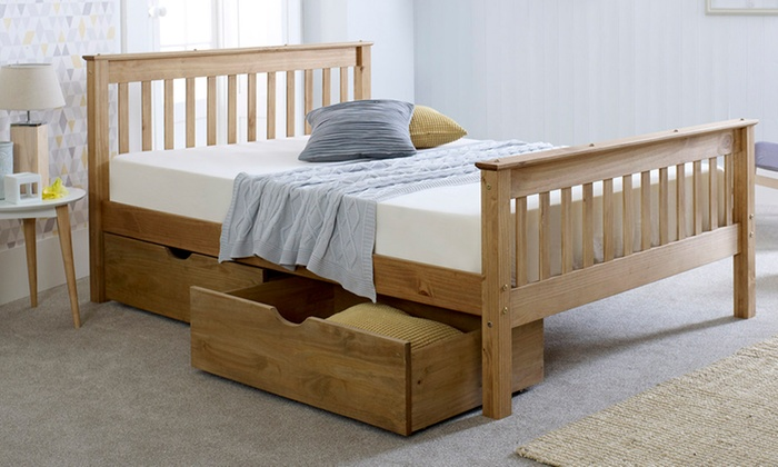 Eva Solid Wood High Foot Bed Frame with Optional Storage Drawers from £150