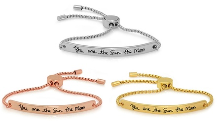 "Inspirational ""You Are the Sun the Moon and All My Stars"" Adjustable Bracelet"