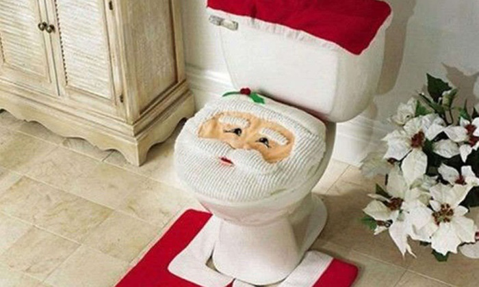 Groupon Goods Global GmbH Three Piece Christmas Toilet Seat Cover Set In Choice Of