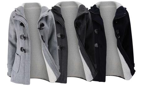 Abrigo de borreguito con cierre de trenca