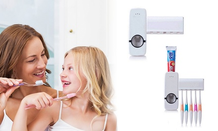 WallMounted Rack Automatic Toothpaste Dispenser and Brush Holder: One $14 or Two $19