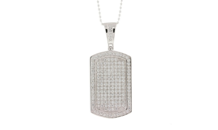 Sterling silver dog tag pendant groupon goods sterling silver micro pav cubic zirconia dog tag pendant aloadofball Images