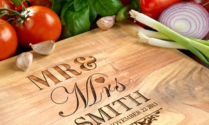 The Photobook Club: Personalised Acacia Wooden Chopping Board: Small ($25), Medium ($35) or Large ($45) (Don't Pay up to $189.95)