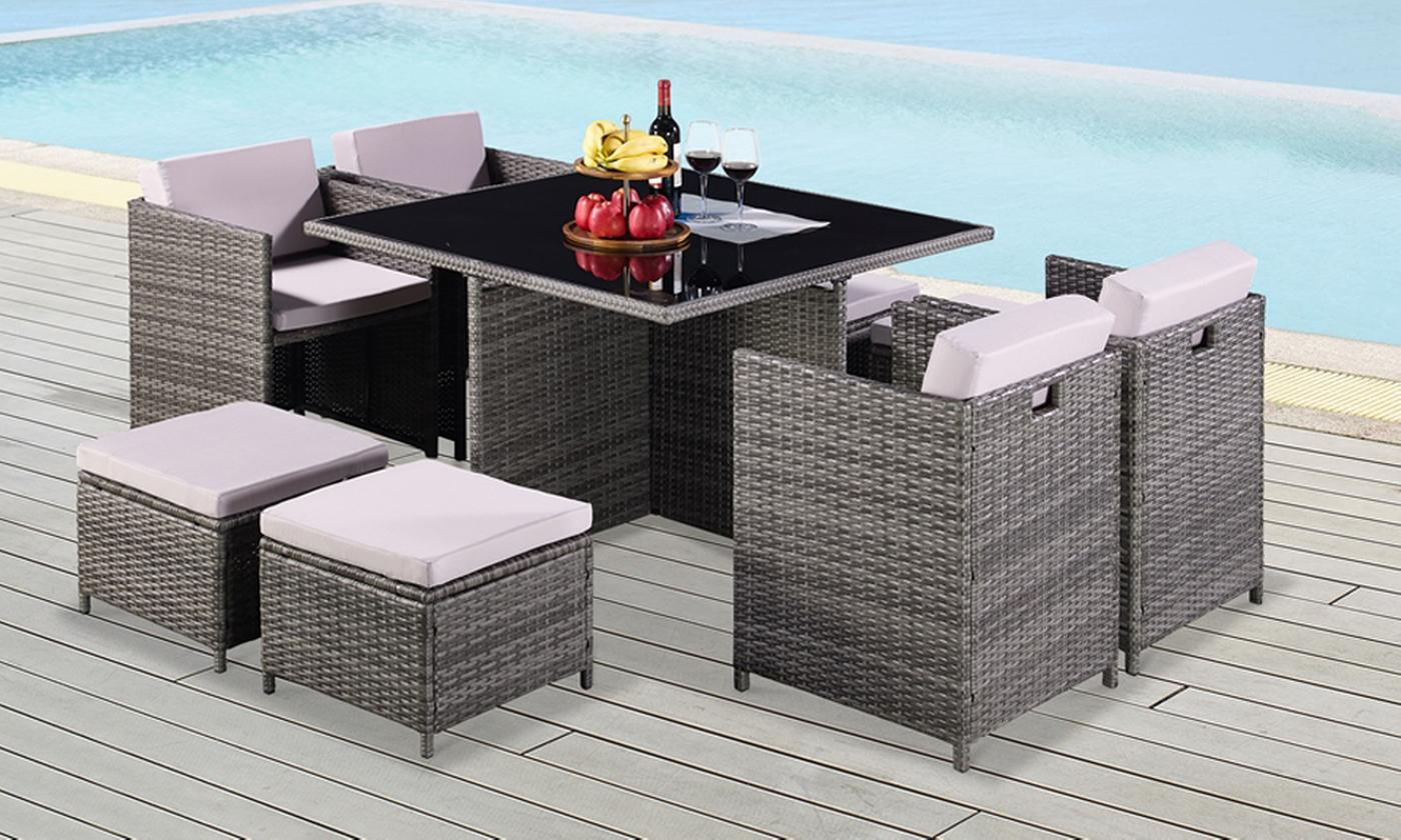 9-, 11- or 13-Piece Cube Rattan-Effect Dining Set in Choice of Colour with Optional Cover (£319.99)