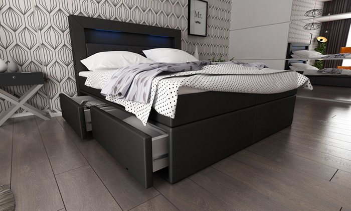 boxspringbett mit led beleuchtung groupon. Black Bedroom Furniture Sets. Home Design Ideas