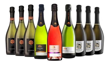 Nine Bottles of Spanish and Italian Sparkling Wine