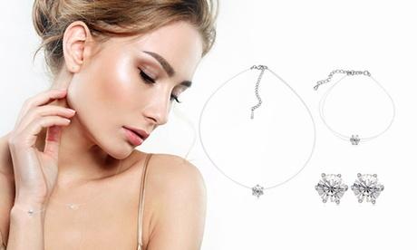 1 o 2 sets pulsera, pendientes y collar invisibles adornados con cristales Swarovski®