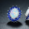 White Fire Opal & Blue Spinel Flower Stud Earrings in 18K White Gold