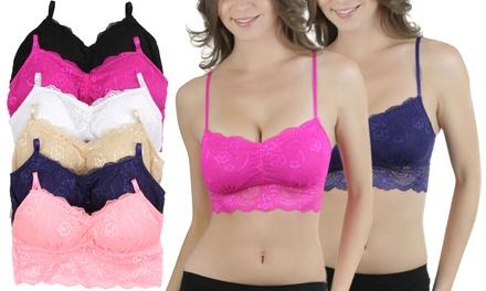 Women's Lace Long-Line Lace Bralettes (6-Pack)