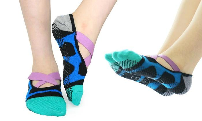Women's Essential Non-Slip Crossover Yoga Pilates Socks