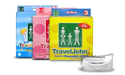 Travel John Packs of John or Jane Disposable Travel Bags