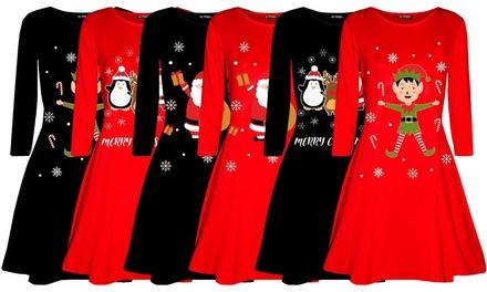 Be Jealous Christmas Printed Swing Dress