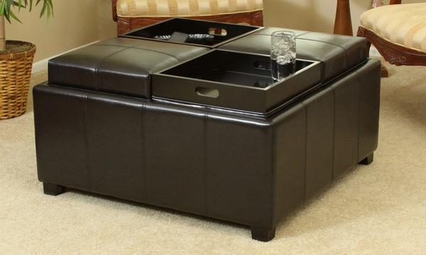 Durango Black Bonded Leather Tray Top Coffee Table Storage Ottoman