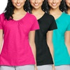 Hanes Women's Slub Jersey Shirred V-Neck Shirt