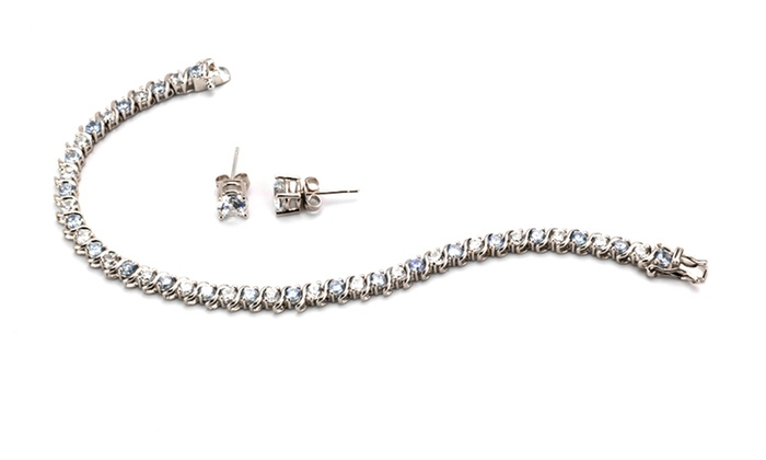 Cubic Zirconia Tennis Bracelet and Earring Set: Cubic Zirconia Tennis Bracelet and Earring Set. Multiple Designs Available.
