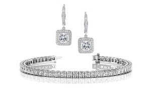25 CTTW Princess Cut Tennis Bracelet and Halo Drop Earrings Set