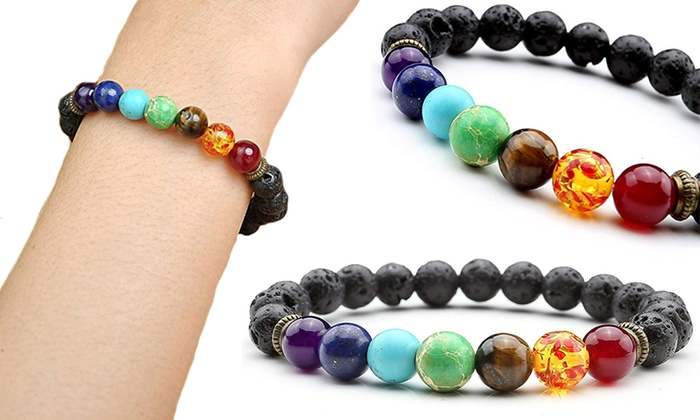 One, Two or Four Seven-Stone Chakra Bracelet from £2.11