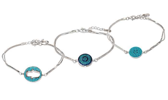 Genuine Turquoise Charm Bracelets In Sterling Silver
