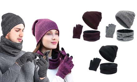 Three-Piece Warm Hat, Scarf and Gloves Set: One ($17) or Two ($27)