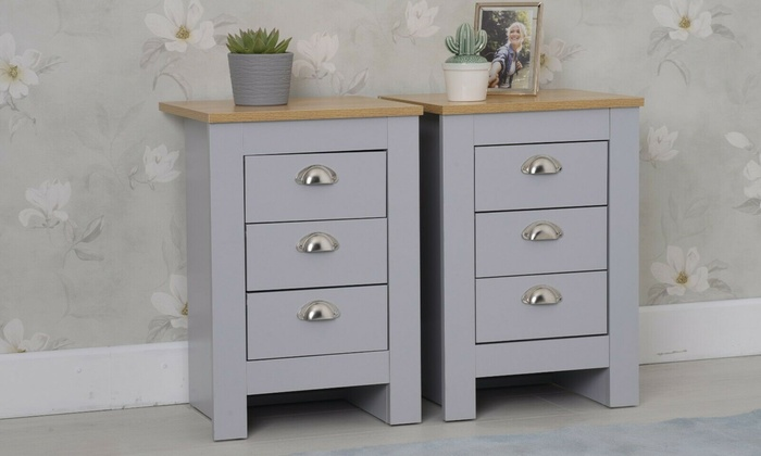 Pair of Three-Drawers Bedside Cabinets