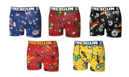 Lot de 5 boxers microfibre Freegun spécial Coupe du Monde, adultes ou enfants