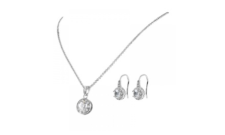 Solitaire Pendant and Earrings Set with Crystals from Swarovski®