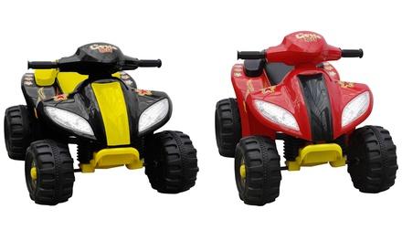 Elektro-Quad für Kinder mit bis zu 3 kmh in Schwarz-Gelb oder Rot-Schwarz (49,99 €)