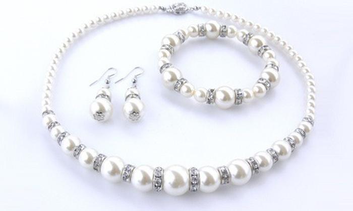 parure crystal pearl groupon goods. Black Bedroom Furniture Sets. Home Design Ideas