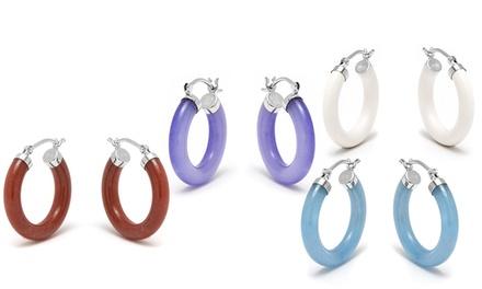 Genuine Jade Hoop Earrings in Sterling Silver