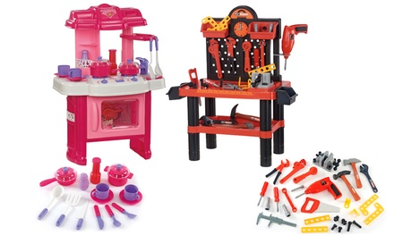 Workshop or Pink Kitchen Kids' Playset, or Both
