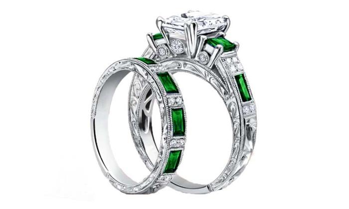 4.00 CTTW Vintage-Inspired Engraved Emerald Bridal Ring Set | Groupon