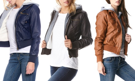 Women's Sherpa-Lined Bomber Jacket with Hood. Plus Sizes Available.