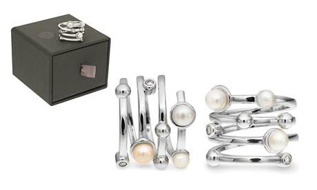 Anello placcato oro con perle vere e cristalli, con o senza gift box. Vari set disponibili