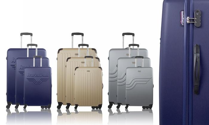 set 3 valises abs american travel groupon. Black Bedroom Furniture Sets. Home Design Ideas