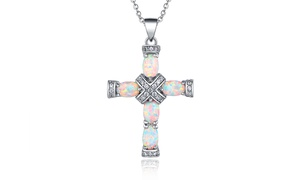 Peermont Genuine White Fire Opal and Diamond Accent Cross Necklace
