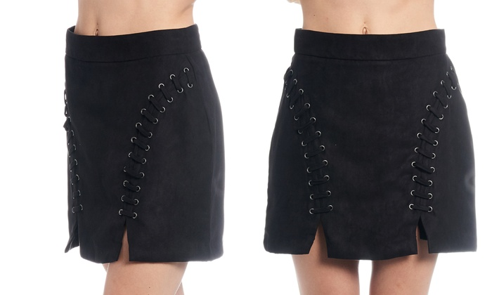 Women's Suede Lace-Up Mini Skirt