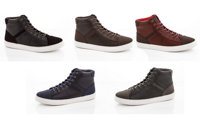 Franco Vanucci Men's Faux Leather High-Top Sneakers