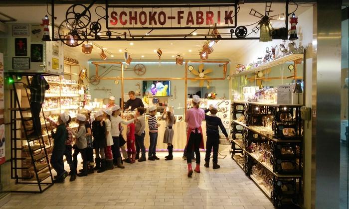 Schoko Fabrik - Schoko Fabrik im Europacenter, 1.OG,: Schokoladen-Workshop für 1-4 Pers. oder Kindergeburtstag für bis zu 20 Pers. in der Schoko Fabrik (bis zu 57% sparen*)